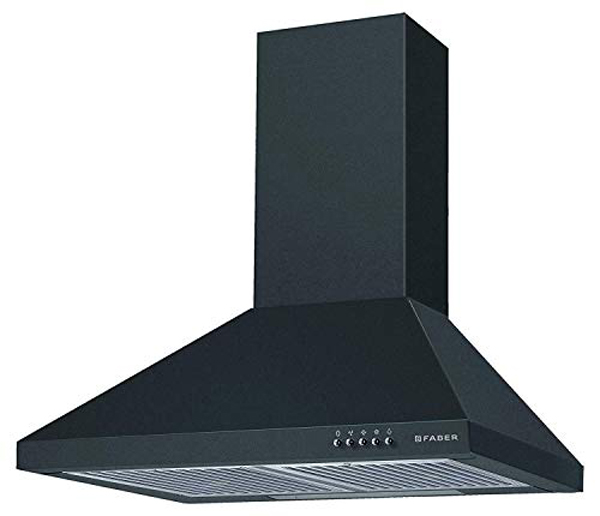 Faber 60 cm 800 m³/HR Pyramid Kitchen Chimney (HOOD CONICO PLUS BF BK 60, 2 Baffle Filters, Black